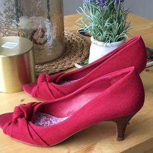Red Fabric Kitten Heels